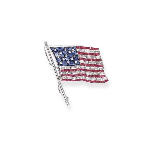 A GEM-SET FLAG BROOCH, BY OSCA