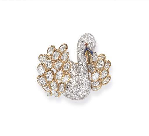 A DIAMOND, RUBY AND ENAMEL BRO