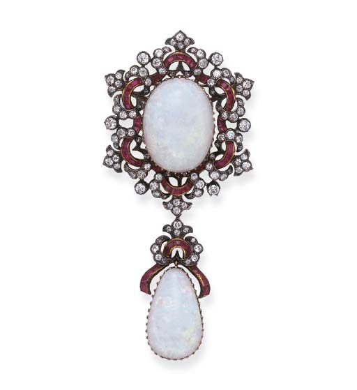 AN ANTIQUE OPAL, RUBY AND DIAM