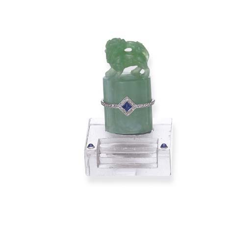 AN ART DECO JADEITE AND ROCK C