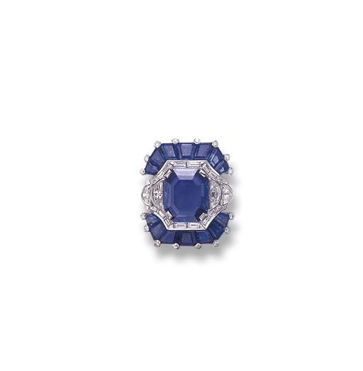 A RETRO SAPPHIRE AND DIAMOND R