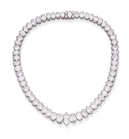 A DIAMOND LINE CHOKER NECKLACE