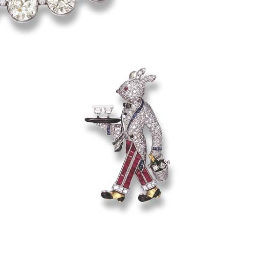 A GEM-SET RABBIT BROOCH, BY RA