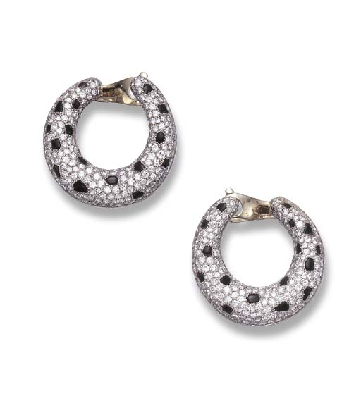 A PAIR OF DIAMOND AND ONYX