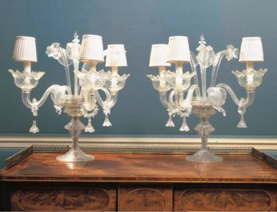 A PAIR OF VENETIAN MOLDED-GLAS