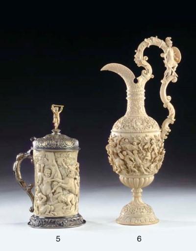A German carved ivory ewer**