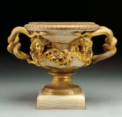 A French ormolu-mounted onyx v
