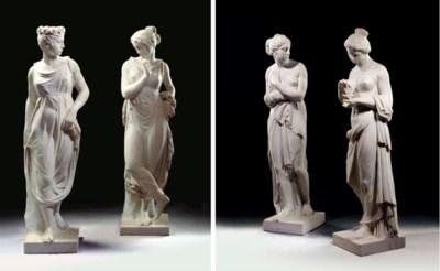 A set of four Italian white ma