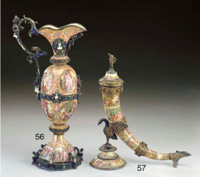 A Viennese silver-mounted and