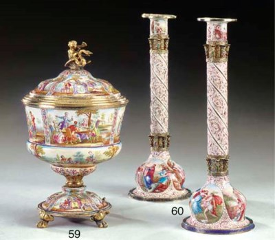 A pair of Viennese silver-moun