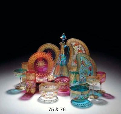 A BOHEMIAN HARLEQUIN GLASS PAR