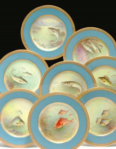 TWELVE LENOX BLUE-GROUND ICTHY