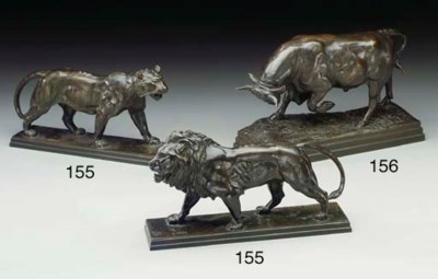 A pair of French bronze studie
