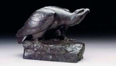 A French bronze study of an ea