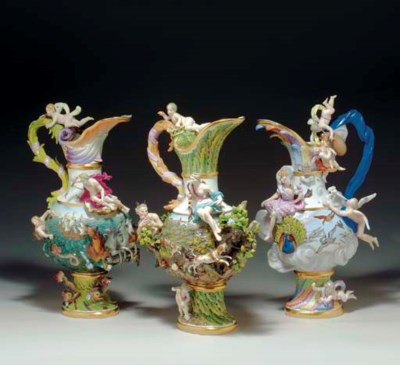 THREE MEISSEN EWERS EMBLEMATIC