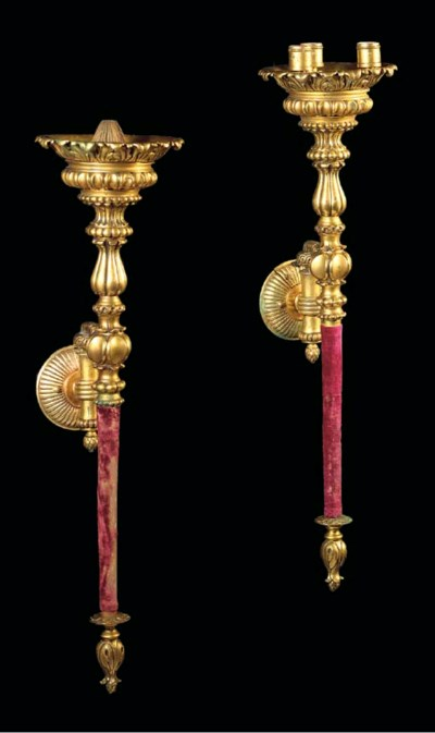 A pair of ormolu torch-shaped