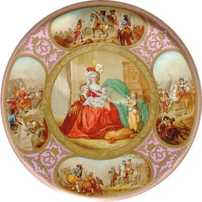 A SEVRES STYLE PINK-GROUND CHA