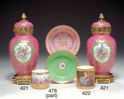 A SEVRES STYLE 'JEWELLED' PINK