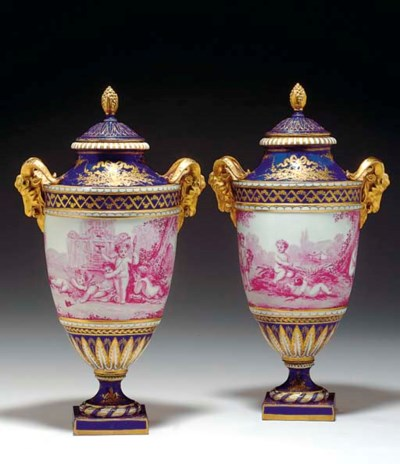 A PAIR OF SEVRES STYLE BLUE-GR