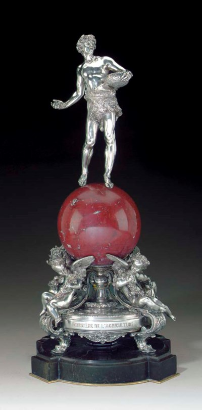 A French silver and rouge marb