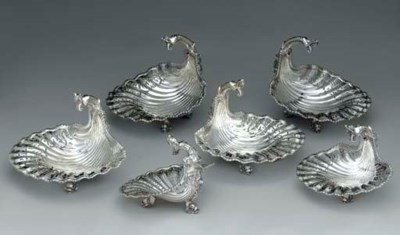 A SET OF SIX SILVER SHELL-FORM