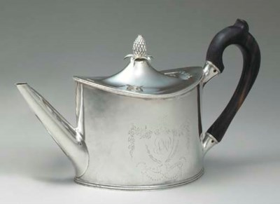 A SILVER TEAPOT OF HISTORICAL