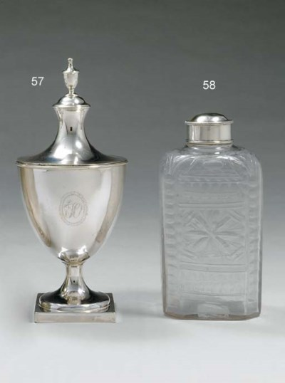 A SILVER-MOUNTED GLASS FLASK