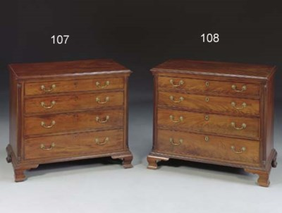 A CHIPPENDALE MAHOGANY CHEST O