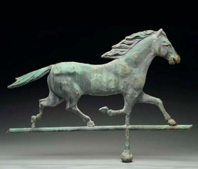 A MOLDED ZINC RUNNING HORSE WE