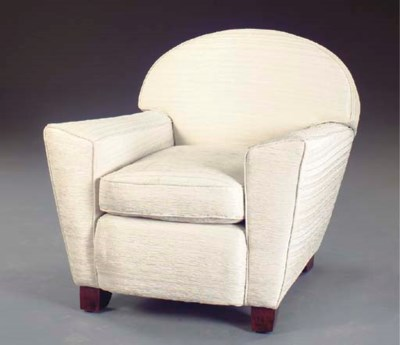 AN ART DECO STYLE UPHOLSTERED