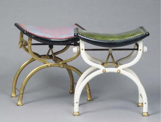 A PAIR OF BRASS CURULE-FORM STOOLS, ONE PAINTED WHITE,