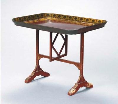 A JAPANNED TILT-TOP TRAY TABLE