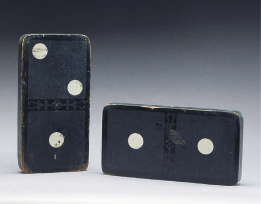 A PAIR OF BLACK AND CREAM-PAINTED DOMINO TRADE SIGNS,