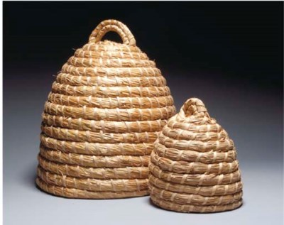 TWO BASKETRY BEEHIVES,