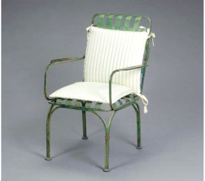 A PAIR OF GREEN-PAINTED IRON G