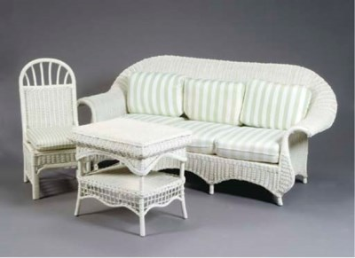 A WHITE-PAINTED WICKER PATIO S
