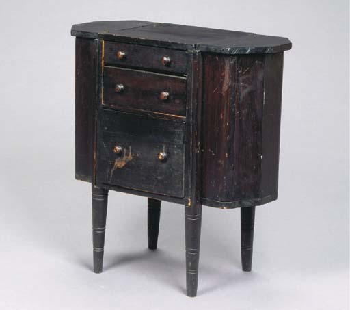 A BLACK-PAINTED PINE SEWING TABLE