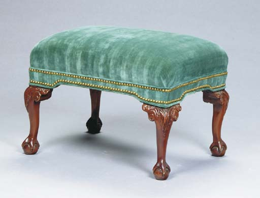 A GEORGE III STYLE GREEN-VELVET COVERED MAHOGANY STOOL,