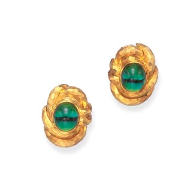A PAIR OF GREEN TOURMALINE AND