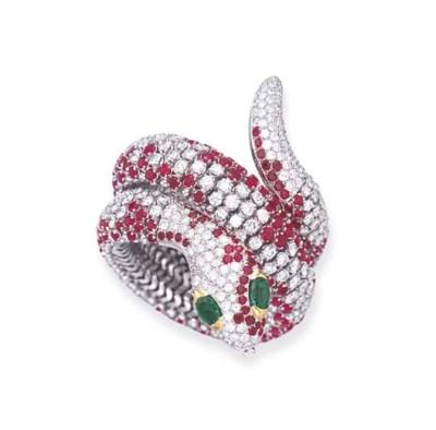 A RUBY AND DIAMOND SERPENT BRA