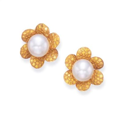 A PAIR OF CULTURED PEARL AND Y