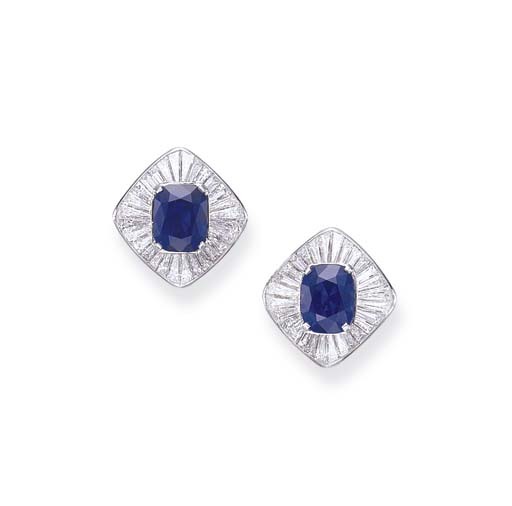 A FINE PAIR OF SAPPHIRE AND DIAMOND EAR CLIPS, BY CARVIN FRENCH