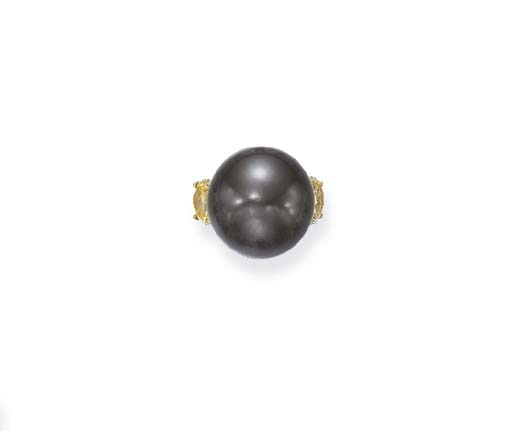 A BLACK CULTURED PEARL AND COLORED DIAMOND RING, BY DAVID MORRIS