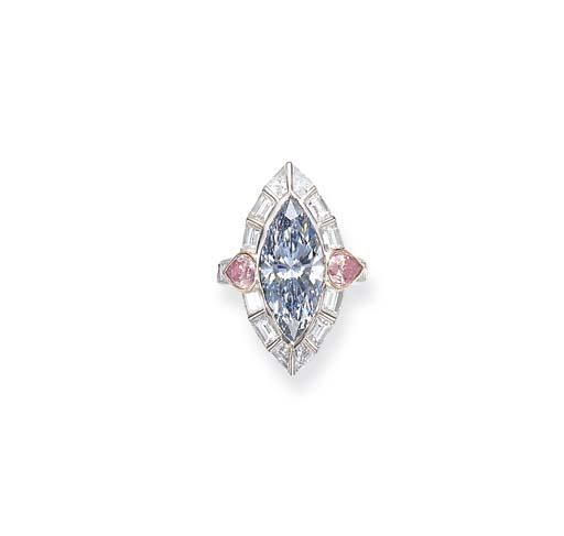A RARE FANCY BLUE DIAMOND RING