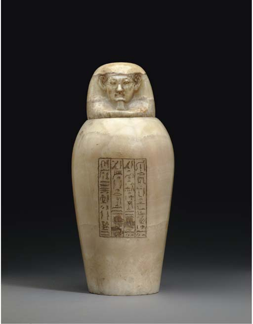 AN EGYPTIAN ALABASTER CANOPIC JAR AND LID FOR IPEY