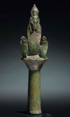 AN EGYPTIAN BRONZE STANDARD FI