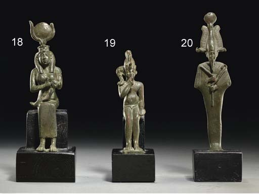 AN EGYPTIAN BRONZE ISIS AND HO