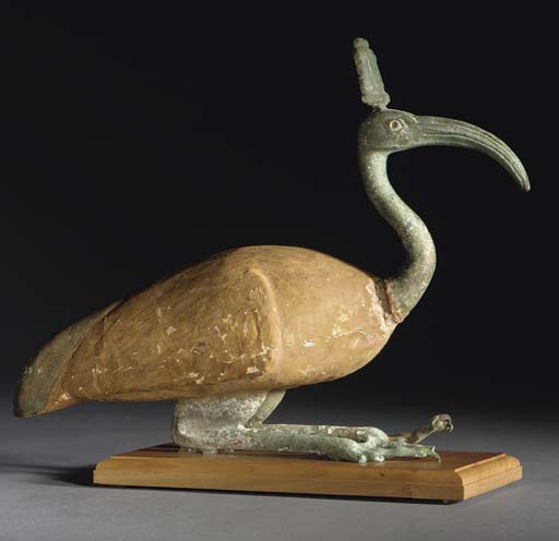 AN EGYPTIAN WOOD AND BRONZE IBIS
