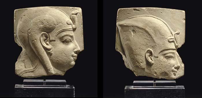 AN EGYPTIAN LIMESTONE DOUBLE-SIDED SCULPTOR'S MODEL