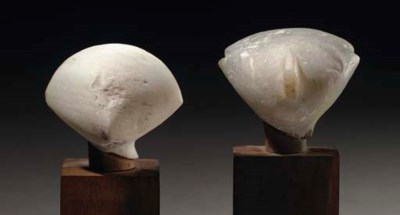 TWO ANATOLIAN MARBLE HEADS OF